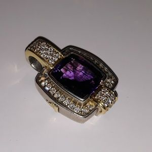 Lagos Caviar Amethyst & Diamond SS/18k Enhancer
